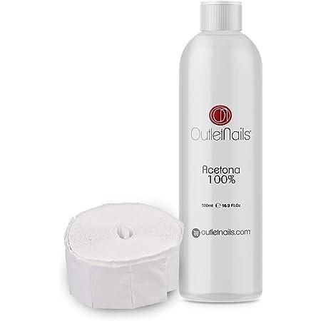 Acetona 100% Pura 500ml de alta calidad + 100 Celulosas   Ideal para retirar Esmaltes Permanentes   Made in Spain