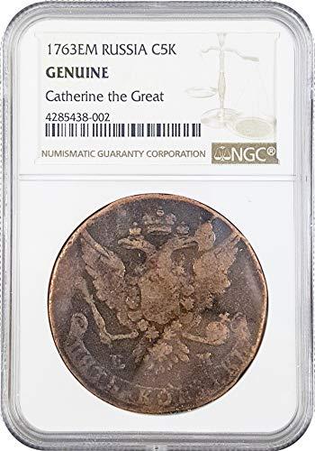 1767 RU Russian 5 Kopek of Catherine The Great Coin 5 Kopek Genuine NGC