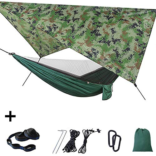 Outdoor Hangmat Met Klamboe/Zonnescherm, Draagbare Lichtgewicht Camping Hangmat Is Bestand Tegen 200Kg,3