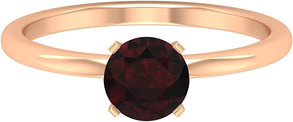 6 MM Solitaire Garnet Ring, Simple Engagement Ring, Solid Gold Wedding Ring (AAA Quality), 14K Gold
