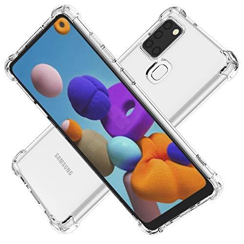 Cuoqing Hülle für Samsung Galaxy A21s, klar Anti-Kratzer Schock-Absorption Sanft Silikon TPU Handyhülle für Samsung Galaxy A21s