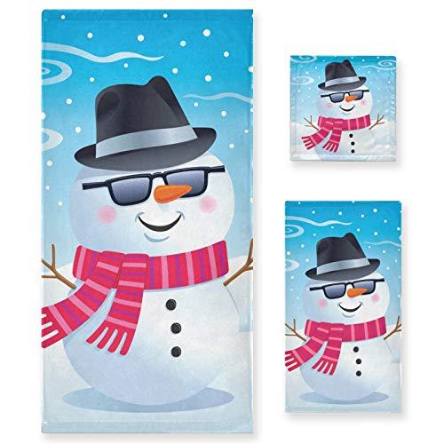 Juego de 3 Toallas de algodón de Lujo para baño para Mujeres, Hombres, baño, Cocina, 1 Toalla de baño, 1 Toalla de Mano, 1 toallitas, muñeco de Nieve, Gafas de Sol Fedora