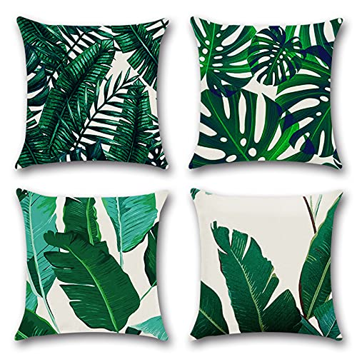 Cushion Covers 45 x 45 cm,Set of 4 pillow cover Cotton and Linen Pillow case Cushion Covers for Sofa outdoor garden bed couch cushions(17-Banana Leaf Green)