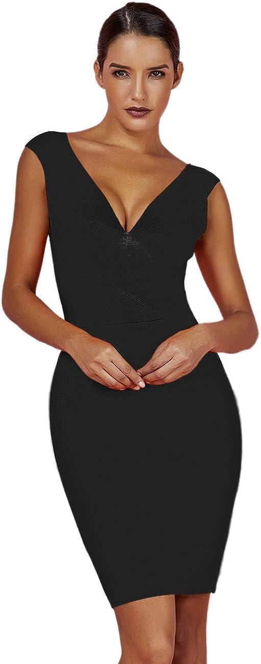 UONBOX Women's Rayon 信託 Sexy V-Neck Gold Foil Bandage Bodycon 送料無料お手入れ要らず Print