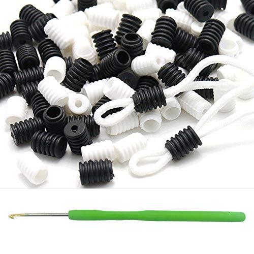 Elastic Cord Lock, Toggles for Drawstrings,Silicone Elastic Rope Adjuster,Buckle Non-Slip Plug Black 50pcs and White 50pcs