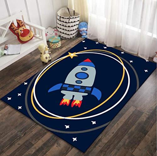 Alfombra De Impresión De Estrellas De Cohete De Universo Espacial De Dibujos Animados, Área De Juegos De Guardería Alfombra De Juguete para Niños, Alfombra De Habitación para Niños 120 * 160cm