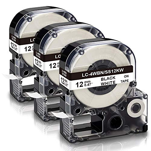 Absonic Compatible Label Tape Replacement for LK-4WBN LC-4WBN SS12KW LC 4WBN9 LK 12mm Tape Cartridge 1/2'' for Epson LabelWorks LW-300 LW-400 LW-500 LW-600P LW-700 Label Maker, Black on White, 3-Pack