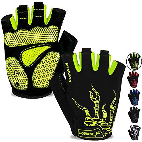 MOREOK Mens Cycling Gloves,Half Finger Biking Glove MTB DH Road Bicycle Gloves Gel Pad Shock-Absorbing Anti-Slip Breathable Motorcycle Mountain Bike Gloves Unisex Women AK050-Green-L