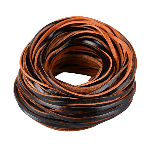 FLOFIA 20m x Ø 3mm Flach Lederband Schwarz Lederriemen Lederbänder zum basteln Flach Lederschnur
