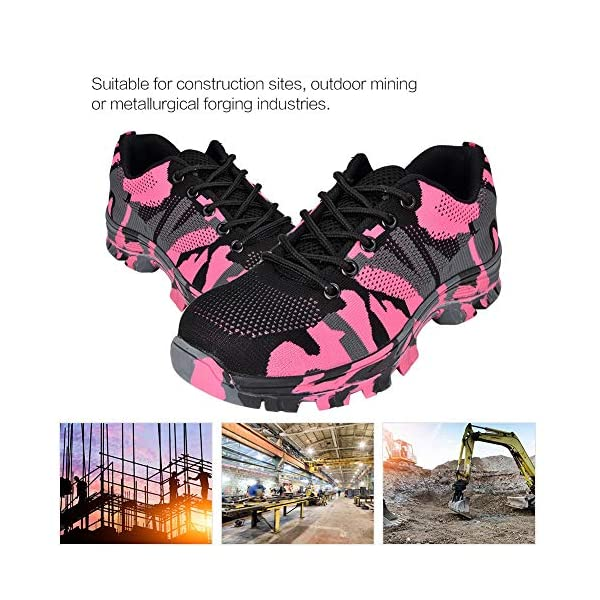 Steel Toe Work Shoes for Men, Breathable Camouflage Safety Work Shoes