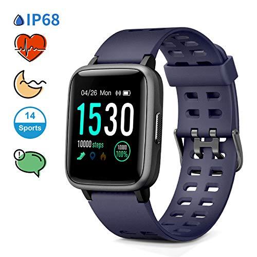 Glymnis Smart Horloge Fitness Tracker 1.3'' Kleur Touchscreen 5ATM Waterdichte 14 Sport Activiteiten Hartslag Slaap Monitor Bericht Herinnering voor Mannen Vrouwen iOS Android, Blauw