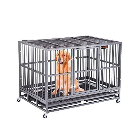 Heavy Duty Dog Crate Strong Metal Pet Kennel Playpen with Four Prevent Escape Lock Large Dogs Cage with Wheels