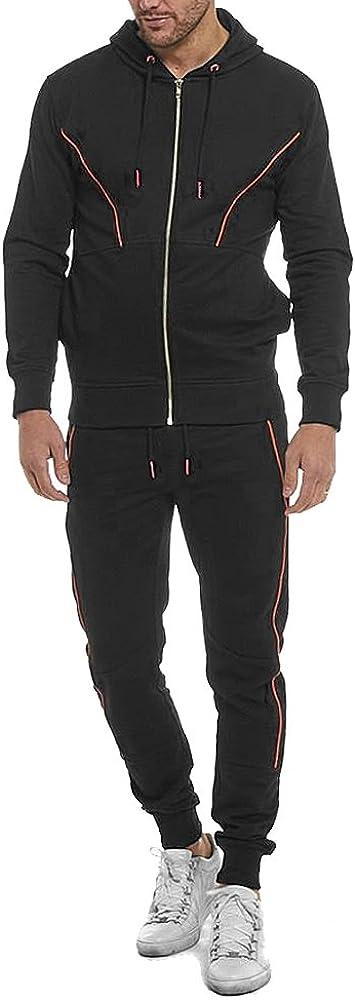 Raiken Mens Designer Contrast Reflective Panel Fleece Hooded Full Zip Jogging Tracksuit Set Size