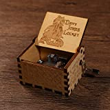 Davy Jones Wood Music Boxes, Hand Crank Laser Engraved Vintage Pirates of The Caribbean Musical Box Gifts for Birthday, Wedding, Christmas, Valentine's Day, Home Decoration, Crafts, Toys (Brown)