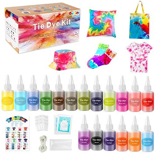 Ucradle Tie Dye Kit, 18 Tie Dye Farben Set Für Kinder, Erwachsene Und Gruppen, Batikfarben Set Zum Erstellen Stoff Färbemittel Textilfarbe Fashion DIY (60ml Pro Flasche)