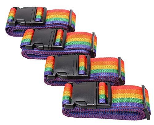 HIHUHEN 4 Pack Luggage Strap, Adjustable 180cm, Long Travel Packing Belt Suitcase Baggage Security Straps (4 x Straps)