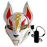 Lixada Máscara completa de 10 colores de zorro, luces de neón, para Halloween, fiesta de disfraces, amarillo, 9.4 * 6.3 * 2.2in
