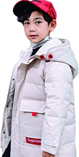 2019 New Korean Version of The Loose Children's Down Jacket, Boys in The Long Section Thickening Children's Clothing Baby White Duck Down Jacket,White,140