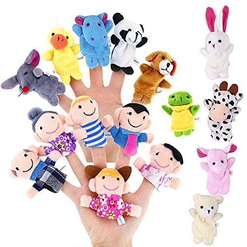 ZHONGJIUYUAN 16 piezas de dibujos animados lindo animal biológico dedo marioneta peluche juguetes niño bebé favor muñecas contar historia accesorios niños niñas marionetas dedo