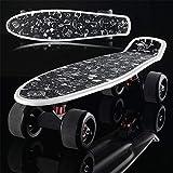 YASHANG Flash Scrub Big Wheel Skateboard, Moda Adult Stunt Skateboard, Street Four Wheel Scooter, Banana Board (Estilo Cuatro)
