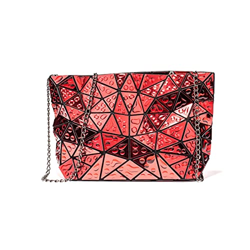 QIANJINGCQ Moda todo-fósforo diseño de nicho bolsa geométrica rómbica gran capacidad gota de agua bolso femenino temperamento fresco bolso de mensajero de un solo hombro