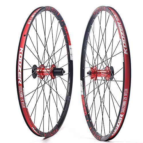 LiFuJunDong 26inch MTB Wheel Set Mountain Wheel Set Front and Rear Wheels Alloy Wheels 650B Aluminium Mountain Clincher Self-Made (Black+Red)