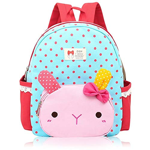 Suerico Cute Rabbit Toddler Backpacks Kids School Bags Children Preschool Lunch Bags (blue)
