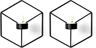 Pcs of 2 Nordic Style 3D Metal Geometric Wall Hanging Tealight Candle Holder Sconce Home Decor Living Room Wedding Coffee Bar Wall Decoration (Black)
