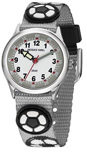 JACQUES FAREL Kinder-Armbanduhr Fußball analog Quarz Metall Stoffband HCC 4122
