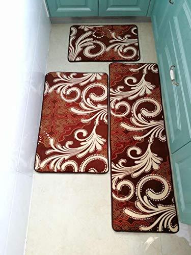 KEAINIDENI toiletmat dikker badmat badkamermatten tapijten set stenen print badkamer vloerkleed deurmat voor douche kamer antislip toilettapijten 3 maten, koffie bloem, 50x80cm 1 stks