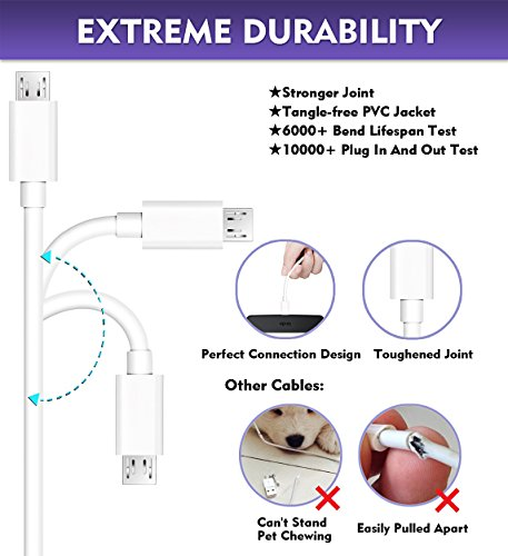 MATEIN Micro USB Kabel [2 Pack 3m], 10 FT Android Ladekabel Extra langes Schnellladegerät USB kompatibel für S7 Edge/ S7/ S6/ J3/ J7/ Note 5, Nokia, Wiko, Xiaomi, Xbox, PS4, Sony - Weiß