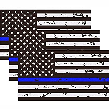 3 Pack Reflective New Tattered Thin Blue Line US Flag Decal Stickers   Compatible with Cars & Trucks 5  x 2.7  American USA Flag Decal Sticker Honoring Police Law Enforcement Vinyl Window Bumper Tape