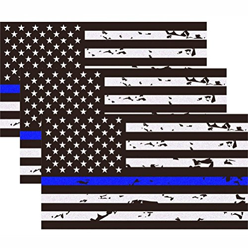 3 Pack Reflective New Tattered Thin Blue Line US Flag Decal Stickers | Compatible with Cars & Trucks, 5 x 2.7 American USA Flag Decal Sticker Honoring Police Law Enforcement Vinyl Window Bumper Tape
