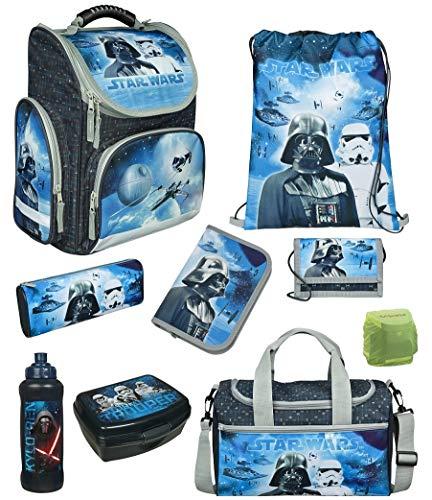 Familando Star Wars Classic Schulranzen-Set 9tlg. Modell CLOU Ranzen 1. Klasse | Schultasche mit Sporttasche | Blau | Regenschutz