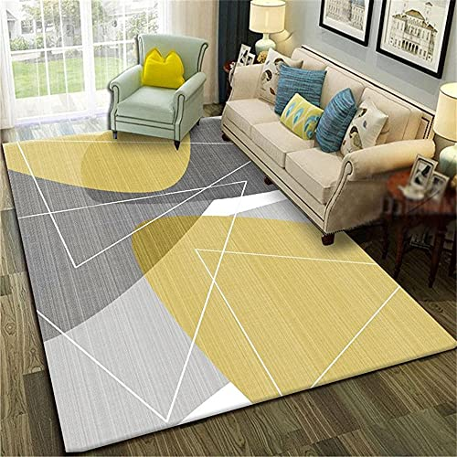 aesthetic bedroom decor Gray and Yellow Hairless Carpet Is Easy To Care for In The Living Room homes rugs for bedrooms 100X160CM 3ft 3.4'X5ft 3'