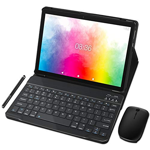 Tablet 10 Pollici MEBERRY Ultimo Android 9.0 Pie: Tablet PC Portatile con 4 GB di RAM+ 64 GB di ROM con Processore Quad- Core- Dual SIM| 8000mAh| WIFI| GPS| Doppia Fotocamera, Corpo in Metallo Grigio