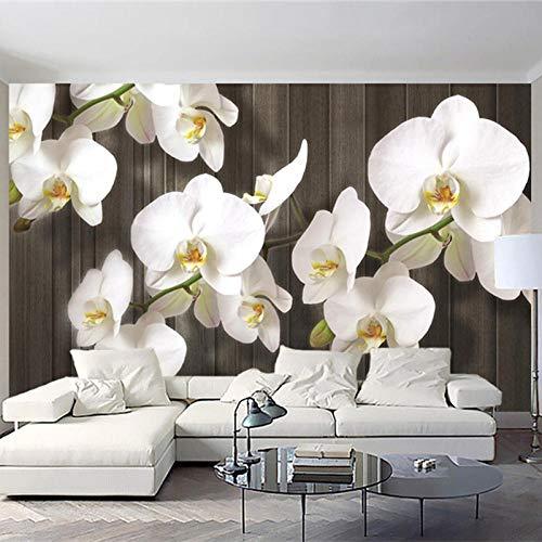 ZJfong Muurschildering 3D Bloemen Houten Graan Art Muurschildering Moderne Woonkamer TV Slaapbank Achtergrond Muren 330 x 210 cm.