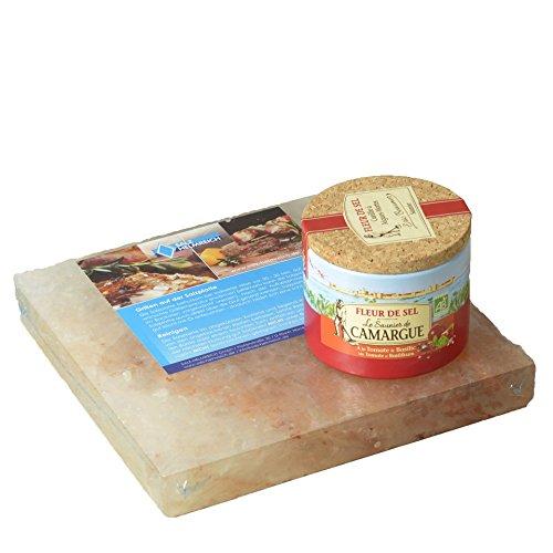 Salz-Helmreich GmbH 1 Salzstein 20x20x2,5cm BBQ Salzplatte zum Grillen + 1 Fleur De Sel Tomate/Basilikum in Einer 125g Dose