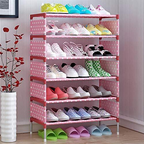 XWZH Zapatero compacto y funcional a prueba de polvo para zapatos de 7 niveles | cabe en espacios estrechos | capacidad para 21 pares de zapatos | fácil de montar sin herramientas (color: rosa)