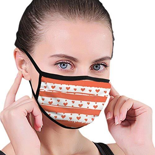 Preisvergleich Produktbild shifeiwanglu Unisex Mundmaske, Washable Reusable Mask 6.8 X 4.7 Inch Men's and Women's Dust-Proof Adjustable Earrings Dust-Proof Half Face Mask, Orange Hearts and Stripes