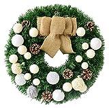 Decoraciones Decoración de navidad guirnalda de la guirnalda de fieltro Círculos bolas de arpillera arcos hecho a mano de ratán fabricados de PVC Decoración de Puntales estilo pastoral 40cm Verde adec