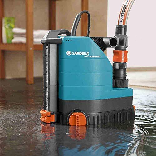 GARDENA 01783-61 Klarwasser-Tauchpumpe 9000 aquasensor, 320 W, türkis, schwarz, Orange