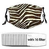 Nasculi Zebra In Winter Brown And Beige Animal Print Wiederverwendbare Anti-Staub-Gesichts,...