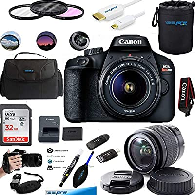 EOS Rebel T100 Digital SLR Camera with 18-55mm Lens Kit + Essential Accessories Bundle from Deal-Expo