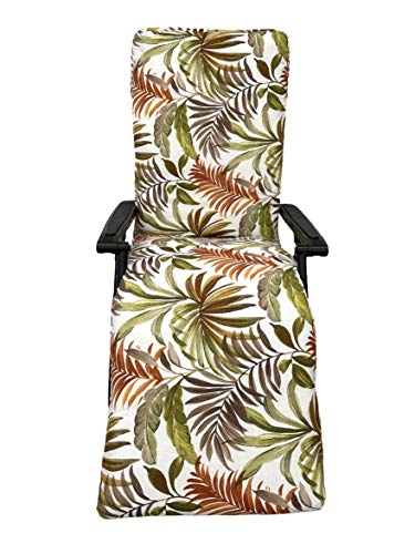 TIENDA EURASIA Cojín para Tumbona de Jardín - Estampados Tropicales - Cojín Acolchado Relleno de Fibra - Medidas 120-180 x 50 x 10 cm - Ideal para tumbonas, sillas y hamacas. (Tropical 7, 180 cm)