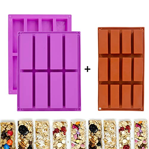 3 Pack Rectangle Granola Bar Silicone Mold Nutrition Cereal Bar Molds Energy Bar Maker for Baking Bread Chocolate Truffles Brownie Cornbread Cheesecake Pudding Butter Mould
