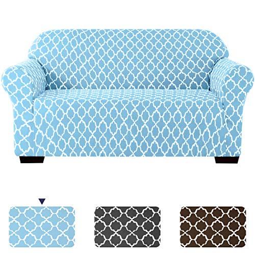 Subrtex - Funda de sofá elástica Suave para 2 Asientos con Estampado en la Nube y Fundas Lavables, Protector de Muebles, sofá elástico para niños y Perros, Color Azul