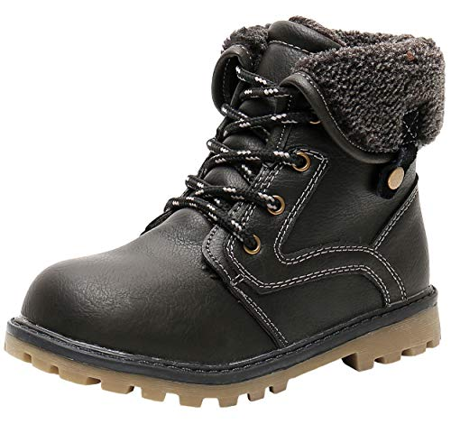 Ahannie Kids Winter Snow Boot with Side Zipper, Boys Warm Insulated Ankle Boot(Toddler/Little Kid) (Color:Black)