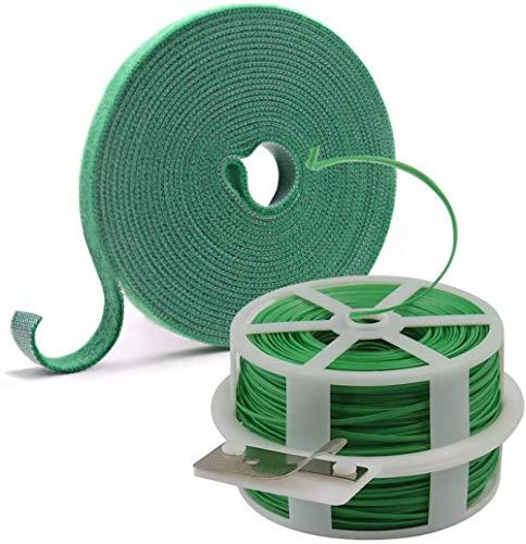 Sgualie Garden Plant Ties, Garden Cravate Wire for Gardening, Home, Office (Black), Green + Green Velcro
