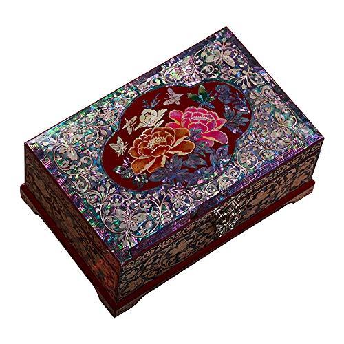 HAIHF Holz Schmuckkästchen, handgemachte Perlmutt eingelegte Schmuckschatulle mit Lack-Finish, chinesische Push-Light-Lackwaren basteln Schmuck Aufbewahrungsbox
